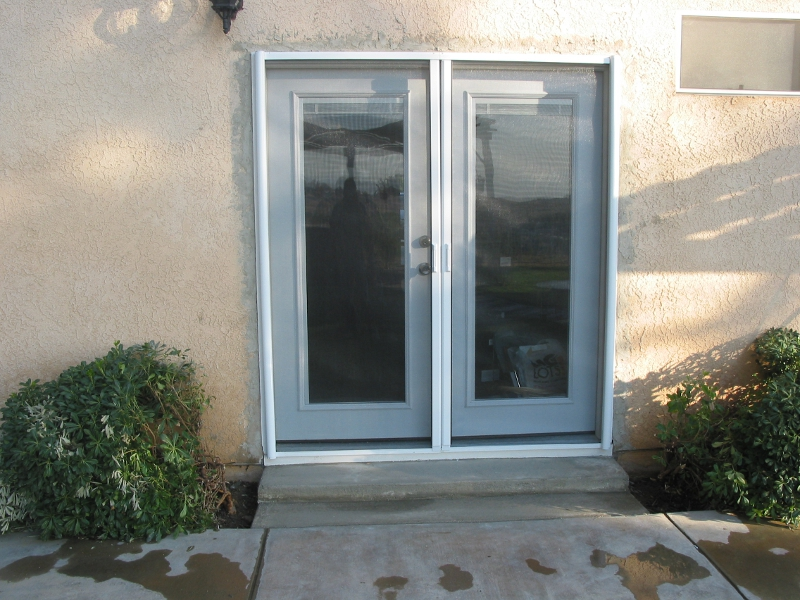 Outside french doors installation redlands home services for Installing french doors